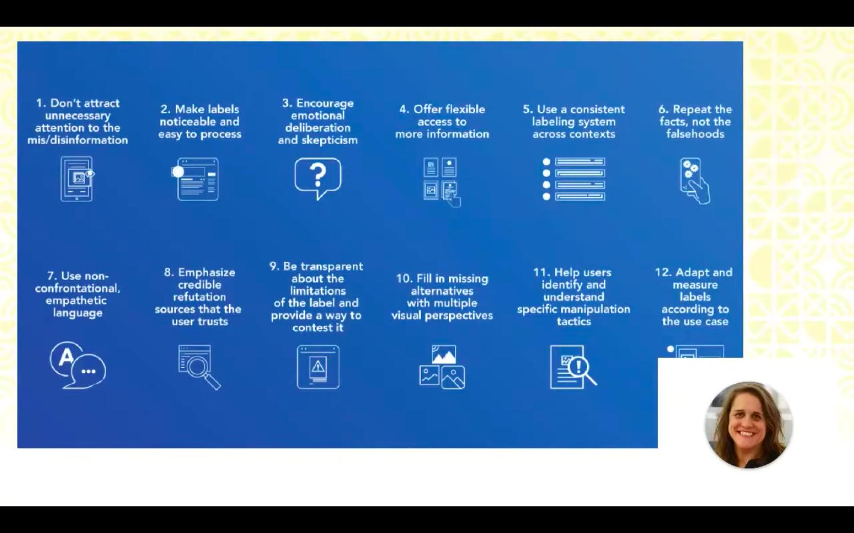 Claire Warlde presenterade tolv principerna att ha i beaktande när fact-checks ska presenteras.